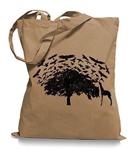 Ma2ca® Birds on Tee Afrika Giraffe Vögel Stoffbeutel Jutebeutel Tasche Tragetasche / Bag WM101 Caramell