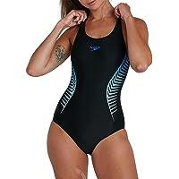 Speedo Womens Ladies Placement Muscleback Swimsuit Swimming Costume Black Blue