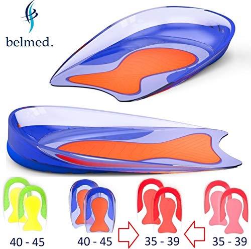 1 Paar Fersensporn Einlagen - Gel Fersenkissen - Schuheinlagen Silikon - Fersenpolster - Fersensporn - Gelkissen - Geleinlagen - Plantarfasziitis - Einlagen - einlegesohlen (Rot/Rot - Größe 35-39)