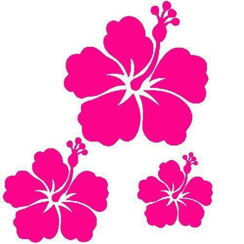 kdosublim Stickers Autocollants 3 Fleur d'hibiscus Couleur aux Choix,Voiture,frigo,Mur,Porte etc. (Rose Magenta)