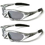 X-Loop Twin Lot de lunettes soleil - SKI & sport pour les adultes - unique taille - UV400 Protection - Athlétisme/SKI/snowboard/pêche/CYCLISME (2 paires soleil) - argent/Argent