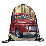 Vintage Painting - Vintage Red Pick Up Truck Unisex Outdoor Rucksack Shoulder Bag