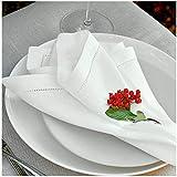 Linen & Cotton 4 x Luxus Stoffservietten FLORENCE mit Hohlsaum - 43cm x 43cm, 100% Leinen (Weiß/Weiss), Ideal für Hochzeit Geburtstag Gastronomie Hotel Restaurant Café