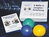 3 Bälle & Jonglier-Anleitung (blau, grün, gelb): Große Jonglierbälle (jeweils 68mm/130g)