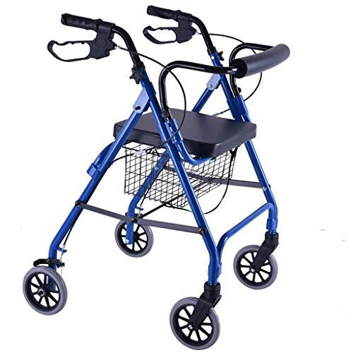 Hong Jie Yuan Rollende Wanderer Walker-Einkaufswagen - Tragbarer älterer Erwachsener faltender Einkaufen-faltender Mobilitäts-Rollator-Wanderer mit 6-Zoll-Rad-Klappsitz (Color : Blue) - Drive Sicherheit-roller