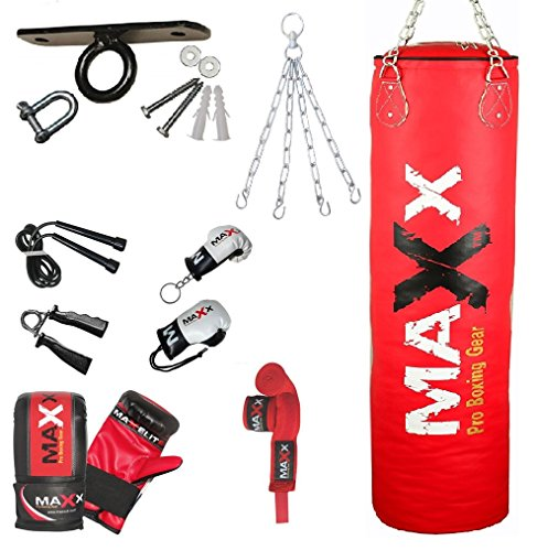 maxx-red-12pc-set-rex-leather-boxing-punchbag-with-bracket-or-ceiling-hook-available-in-sizes-5ft-4f