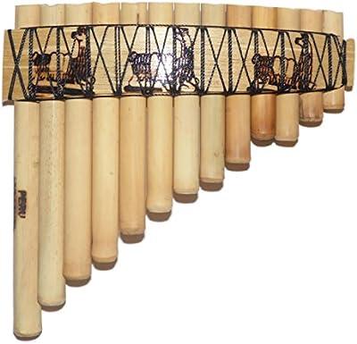 Flauta de Pan (bambú, Antara peruana 13tubos–diseño de llamas–Incluye Funda