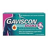 GAVISCON Dual 250 mg / 106,5 mg / 187,5 mg Kautabletten - Bei Sodbrennen und Magendruck - Wirkt bis zu 4 Stunden - Packung mit 48 Tabletten