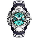 Beydodo Reloj Despertador Reloj Deportivo Relojes Electronicos Relojes LED Reloj Hombre Luminoso Relojes Niños Reloj de Doble Pantalla Reloj Impermeable Pequeño Plata Azul