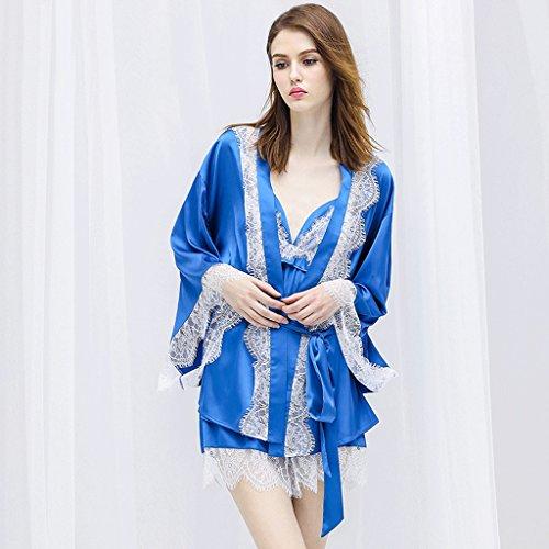 Mädchen-seiden-pyjama (ZLR Spitzen Hosenträger Kurze Hosen Bademantel Seide Pyjama Set Sommer Seasor Dünnschliff Bademantel Set ( größe : L ))