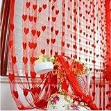 Homefab India Heart String Modern 2 Piece  Polyester Door Curtain Set - 7ft, Red