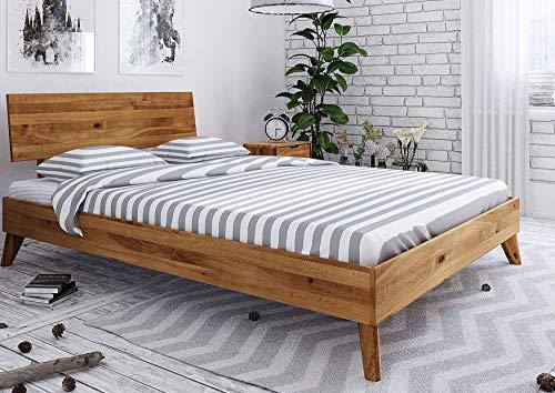 MASSIVMOEBEL24.DE Massivholzbett MALMÖ #03 Wildeiche massiv geölt modern Natur 160x200x82 skandinavischer Stil