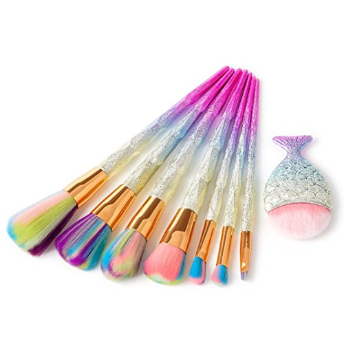 Pinceaux Maquillage, | 8 pcs/lot | Diamant Lot de brosse de maquillage Dazzle Paillettes Big Fish Tail Fond de teint Karter