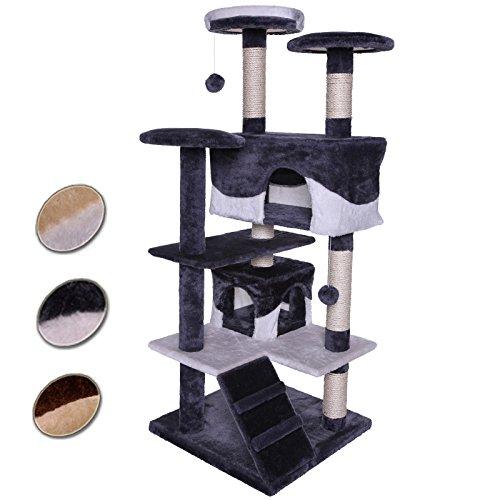 *dibea KB00303 Kratzbaum – Kletterbaum für Katzen (Höhe 130 cm), grau/weiß*