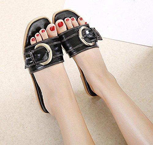 Gürtelschnalle flache Hausschuhe Xia Jiping Frau mit weiblichen Sandalen und Pantoffeln Wort Drag Waichuan weiblich Black
