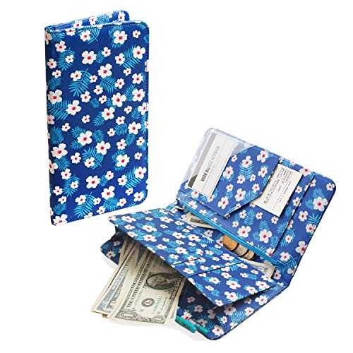 Mymazn Flower Server Book with Magnetic Closure Waitress Wallet Waiter Book Organizer with Zipper Money Pocket for Restaurant Guest Check Order Pad (5 x 9, Blue)