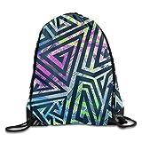 HIDFAA Kordelzug Bag Colored Geometric Drawstring Backpack Travel Bag Gym Outdoor Sports Portable...