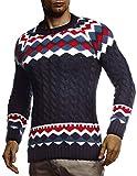 Leif Nelson LN20757 - Maglione da Uomo in Maglia Norvegese con Collo Rotondo, Invernale, per Natale, Inverno, Modello Norvegese, Slim Fit, Collo Rotondo Blu L
