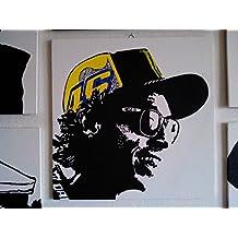 Valentino Rossi 46–cuadro moderno en panel madera DM, pintado a mano, efecto Pop Art