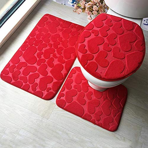 TENIEYA 3-teiliges Badezimmermatten-Set mit Prägung, Flanell, Fußmatte, Kissen, WC-Sitz, Badematte für Heimdekoration rot