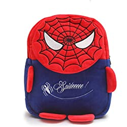 Bazaar Pirates Spider Man Cute Soft Toy School Bag For Kids (Red, Blue)