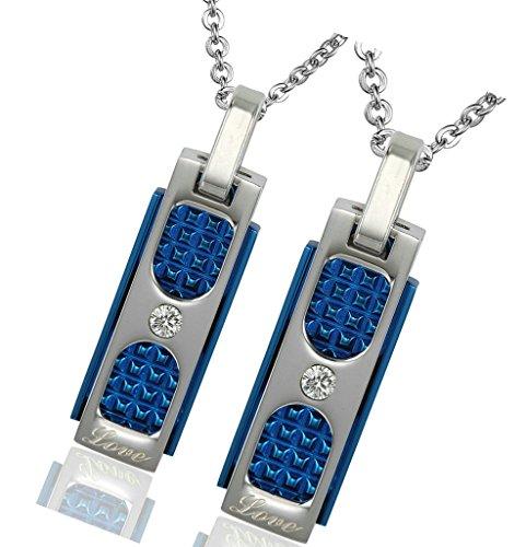 Gnzoe Bijoux, Femme Acier inoxydable CZ Square Classique Pendentif Collier Pour Homme/Femme Bleu(Couple)