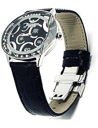 Cerruti 1881Diamond crwdo011b222N reloj 40x 32mm Oval con Real movimiento diamantes correa de piel, cristal de zafiro, fabricada en Suiza, Negro