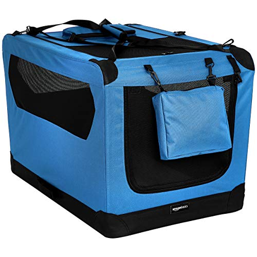 AmazonBasics Panier de transport souple et pliant pour animal de compagnie - 91cm, Bleu