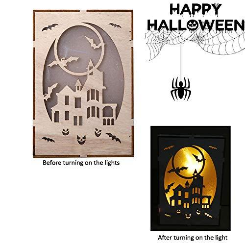hölzerner Halloween-Quadratcomputerlaser hohl LED beleuchtet Hauptdekoration beleuchtet die dreidimensionalen Verzierungen, die Feiertagsdekoration der Verzierungen 2 hängen