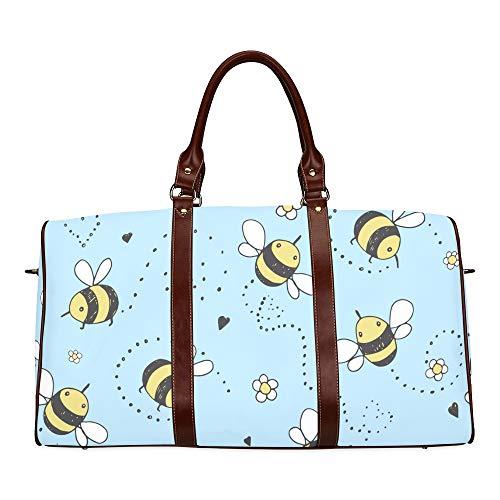 Reise-Seesack Cartoon Doodle niedlichen Bienen wasserdichte Weekender Tasche über Nacht Carryon Handtasche Frauen Damen Einkaufstasche mit Mikrofaser Leder Gepäcktasche