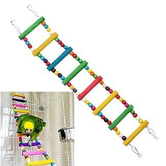 DAYNECETY 1 pc Bird Cage Ladder Toy Bridge Climb Swing Cockatiel Parakeet Budgie Parrot Pet Toys (L) 8