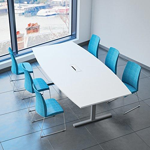 Weber Büro EASY Konferenztisch Bootsform 240x120 cm Weiß mit Elektrifizierung Besprechungstisch Tisch, Gestellfarbe:Silber