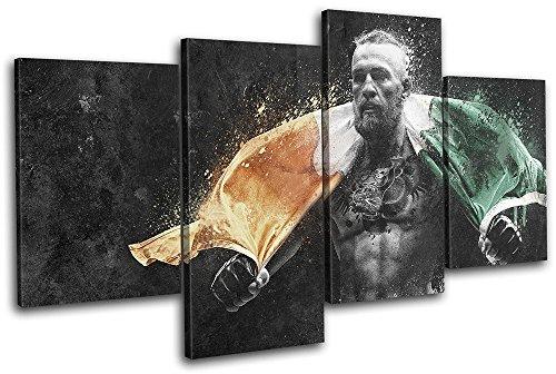 Bold Bloc Design - Conor McGregor UFC MMA Irish Flag Sports 120x68cm MULTI Leinwand Kunstdruck Box gerahmte Bild Wand hangen - handgefertigt In Grossbritannien - gerahmt und bereit zum Aufhangen - Canvas Art Print (Sport-bilder Gerahmt)