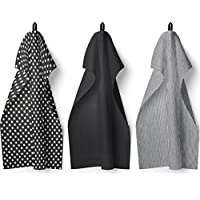 Lot de 3torchons de cuisine en coton - Motifs modernes unis, à pois et à rayures - Absorbant, en tissu éponge gaufré
