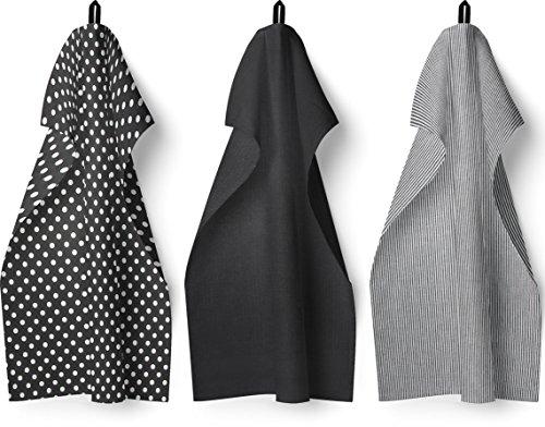 Set von 3Geschirrtücher, 100% Baumwolle Küche Geschirrtuch Set, modernes Polka Dot & Streifen Design, saugfähig, Frottee, Waffelpiqué, 3Pack - Muster Handtuch-set
