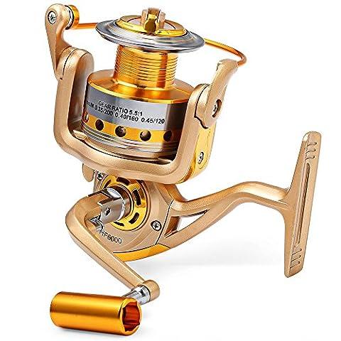 HF–7000Metall Spule Spinning Fishing Reel carretilha Pesca Rad Shamballa Bearing 5,5: 1Angelrolle (Turnier Spinning Reel)
