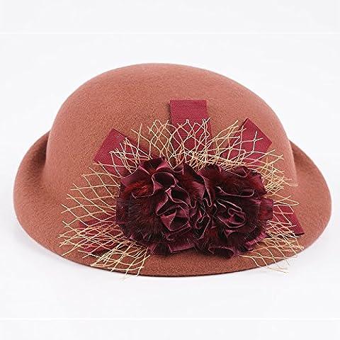 FQG*los niños Cap Cap estilo de otoño e invierno engastado round top small cap pura de oveja , sombreros de fieltro marrón