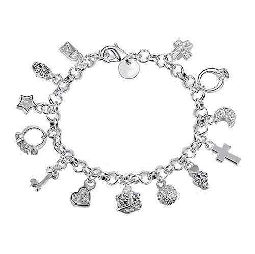 Demarkt Pulsera de plata Accesorios de Joyería con Trece piezas colgantes para mujer(plata)