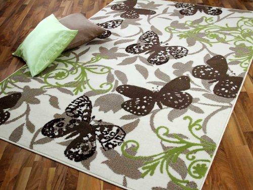 TrendLine Teppich Butterfly Braun Grün Beige in 4 Größen - Grüner Läufer Teppich