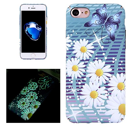 iPhone Case Cover Pour iPhone 7 décalques d'eau Noctilucent Daisy modèle PC cas de protection ( Color : Black ) Blue