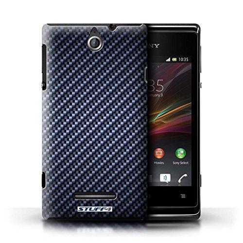 Kobalt® Imprimé Etui / Coque pour Sony Xperia E / Bleu conception / Série Motif de Fibre de Carbone Bleu