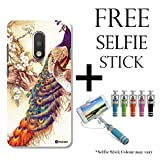 Hamee TM Printed Hard Back Skin Case Cover For Motorola Moto E3 / Moto E 3rd Gen Cover with Selfie Stick – Combo 5