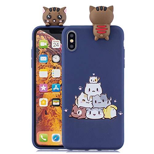 Custodia protettiva per iPhone XS, custodia simpatica per animali 3D in cartone animato simpatico Custodia protettiva morbida per cuffie antiurto in silicone Kawaii per iPhone XS (blu marino gatto)