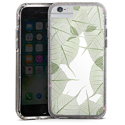 Apple iPhone 6s Bumper Hülle Bumper Case Glitzer Hülle Blaetter Leaves Laub Bumper Case Glitzer rose gold