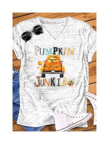 happy&live 2018 Camiseta de Mujer de Moda de Halloween de Manga Corta de calabaza especia Junkie Carta camión Estampado Cuello en V Linda Camiseta de las señoras Tops Tee XL XL