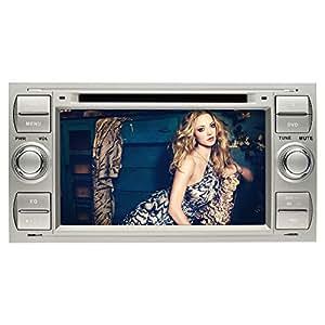 YINUO 2din 7 pouce autoradio DVD stéréo de GPS pour voiture Ford C-Max/Connect/Fiesta/Focus/Fusion/Galaxy/Kuga S-Max/Transit/Mondeo, récepteur de Navigation avec écran tactile capacitif pour GPS DVD Radio commandes aux volant, Bluetooth intégré à des AV-IN + 8GB SD micro carte, BLANC