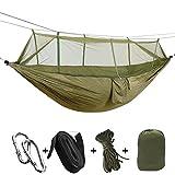 AOAKY Hamac Moustiquaire, Portable Outdoor Léger Nylon Hamac pour Camping Randonnée Pédestre Jardin Voyage Extérieure (armée verte)