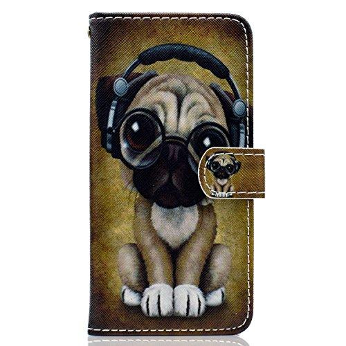 ISAKEN Huawei P Smart Hülle, PU Leder Flip Cover Brieftasche Geldbörse Wallet Case Ledertasche Handyhülle Tasche Schutzhülle Etui mit Standfunktion für Huawei P Smart - H& Musik