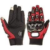Fancytimes Motorrad Handschuhe Voller Finger Touchscreen-Handschuhe Herren Motorradhandschuhe Radfahren Rennen Motocross-Reithandschuhe Outdoor Sports (X-Large, Red)