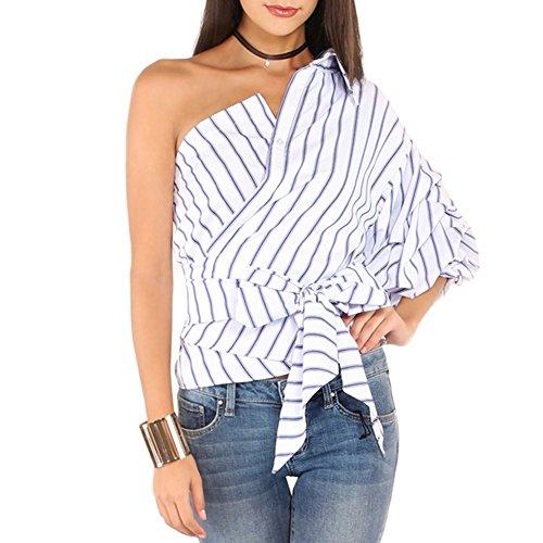 Preisvergleich Produktbild Yalatan Damen Art und Weise gestreiftes Hemd Ein Schulter V-Ansatz halber Hülsen Knopf
